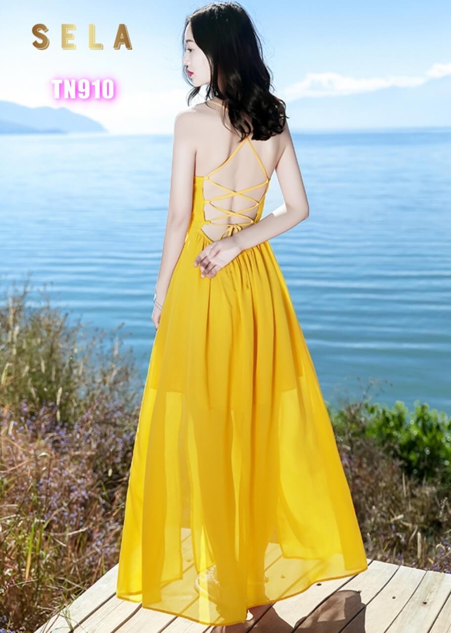 mẫu váy maxi dài đan lưng