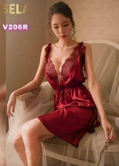 váy ngủ lụa đỏ
